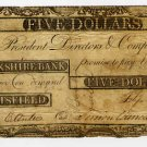 Pittsfield, Berkshire Bank, $5, Sept 9, 1807