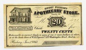 Roxbury, Mount Pleasant Apothecary Store, 20 Cents, Jan 1, 1863