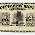 Louisiana, New Orleans, Citizens Bank of Louisiana, $1, 1860s