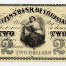 Louisiana, New Orleans, Citizens Bank of Louisiana, $2, 1860s