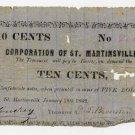 Louisiana, St Martinsville, Corporation of St. Martinsville, 10 Cents, 1862