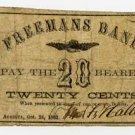 Maine, Augusta, Freeman's Bank, 20 Cents, 1862