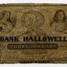 Maine, Hallowell, Bank of Hallowell, $3, 1850s