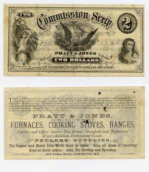Maine, Lewiston, Pratt & Jones, $2 Commission Scrip, 1870s-80s