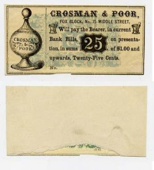 Maine, Portland, Crosman & Poor, 25 Cents, 1860s