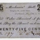 Maine, Portland, EE (L?)Sittle, Mechanics Hall, 25 Cents, 1862