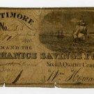 Baltimore, Mechanics Savings Fund, 6 1/4 Cents, Sept 1, 1840