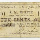 Westminster, JM White, 10 Cents, Nov 7, 1862