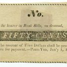 New York, Penn Yan, Unidentified Merchant, 50 Cents, Jan'y 1, 1838