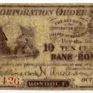 New York, Rondout, Corporation Order, 10 Cents, Oct 1, 1862
