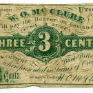 New York, Utica, W.O. Mc Clure, 3 Cents, No Date (1860s)
