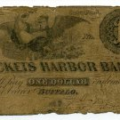 New York, Buffalo, Sackets Harbor Bank, $1, April 1, 1854