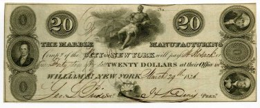 New York, New York, Marble Manufacturing Company, $20, March 29, 1826
