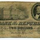 District of Columbia, Washington, Bank of the Republic, $2, Sept 1st, 1852