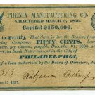 New Jersey, Trenton, Phenix Manufacturing Co., 50 Cents, June 15, 1837