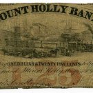 New Jersey, Mount Holly, Mount Holly Bank, $1.25, August 1, 1862