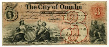 Nebraska Territory, City of Omaha, $3, Sept 1, 1857