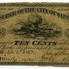 Minnesota, St. Paul, Treasurer of the City of St. Paul, 10 Cents, Nov 1, 1862