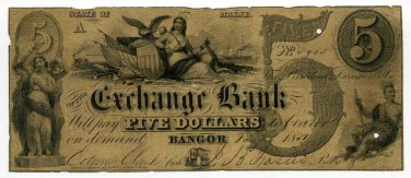 Maine, Bangor, Exchange Bank, $5, Jany 6, 1851