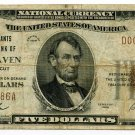 The Merchants National Bank of New Haven, $5, 1929 type 1, Charter #1128