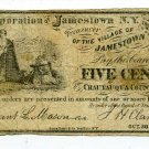 New York, Corp. of Jamestown NY Treasurer of the Village, 5 Cents, Oct 30, 1862