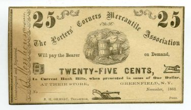 New York, Greenfield, The Porters' Corners Mercantile Assoc., 25 Cts, November 1862, Unissued