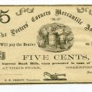 New York, Greenfield, The Porters' Corners Mercantile Assoc., 5 Cts, November 1862, Unissued