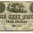 New York, NY, The City Trust & Banking Co., $1, December 29, 1839
