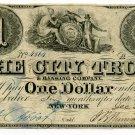 New York, NY, The City Trust & Banking Co., $1, December 29, 1839