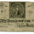 New York, The City Bank of New York, $3, 1800s, Unissued