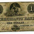 New York, NY,  Merchants' Bank, in the City of NY, $1, May 1, 1859