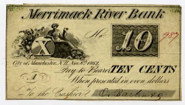 New Hampshire, Manchester, O Barton & Co ?, 10 Cents, Nov 8, 1862