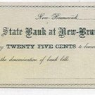 New Jersey, New Brunswick, Hagaman, Van Cleef and Dunhams, 25 Cents, 1862