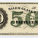 New Jersey, Salem, Salem Glass Works, 50 Cents, August 22, 1870