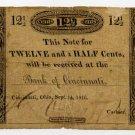Ohio, Cincinnati, Bank of Cincinnati, 12 1/2 cents, Sept 2, 1816