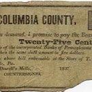 Pennsylvania, McDowell's Mills, 25 Cents, 1837