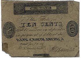 Pennsylvania, Philadelphia, The Bank of North America, 10 Cents, January 10, 1815