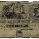 Pennsylvania, Philadelphia, The Southwark Bank, $5, May 1, 1847