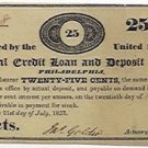 Pennsylvania, Philadelphia, Mutual Credit Loan and Deposit Office, 25 Cents, July 21, 1837