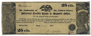 Pennsylvania, Philadelphia, Mutual Credit Loan and Deposit Office, 25 Cents, June 1, 1837