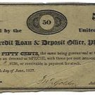 Pennsylvania, Philadelphia, Mutual Credit Loan & Deposit Office, 50 Cents, June 27, 1837
