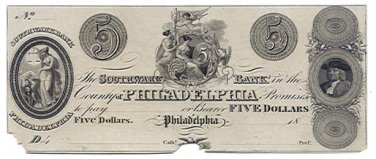 Pennsylvania, Philadelphia, Southwark Bank in the County of Philadelphia, $5, 18--, (1820s)