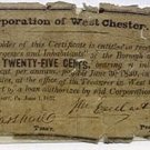 Pennsylvania, West Chester, Corporation of West Chester, 25 Cents, June 1, 1837