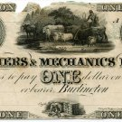 Vermont, Burlington, Farmers & Mechanics Bank, $1, 18--, (1840s)