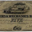 Vermont, Burlington, Farmers & Mechanics Bank, $5, August 1, 1850