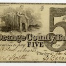 Vermont, Chelsea, Orange County Bank, $5, Jan 2, 1857