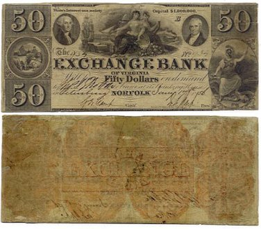 Virginia, Petersburg, The Exchange Bank of Virginia, Norfolk, $50, January 17, 1856