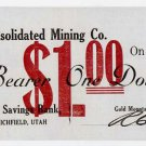Utah, Richfield, Gold Mountain Consolidated Mining Co., $1, July 10, 1908