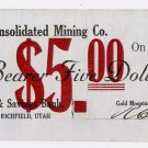 Utah, Richfield, Gold Mountain Consolidated Mining Co., $5, July 10, 1908
