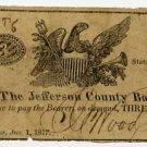 New York, Adams, Jefferson County Bank, 3 Cents, Jan 1, 1817